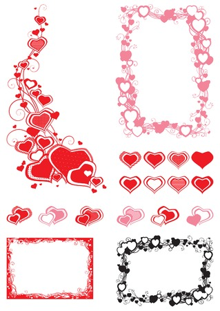 Set of Borders  with hearts  Vector decorative frames with hearts isolated  on white background with place for text Vector