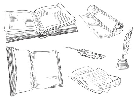 Retro books  Vector set of old  books and antique objects at engraving style   Vector