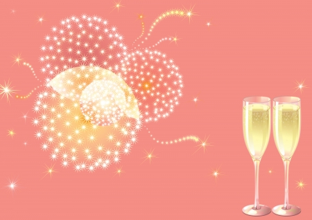 Рoliday fireworks  Vector holiday background with two Champagne Flutes, many stars and fireworks on pink background Vector