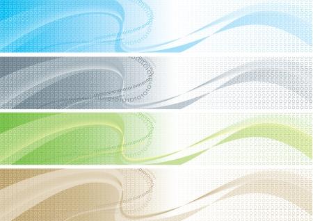 Ensemble de bannières de couleur avec le code Vector abstrait coloré binaires avec le code binaire pour bannières internet