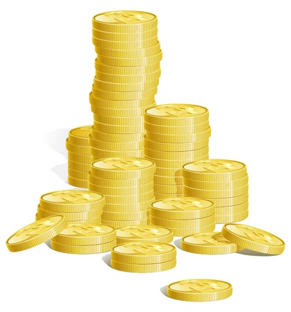 Money  Many stacks of gold coins  There are no meshes in this image