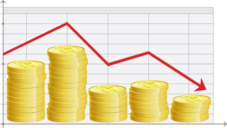 downsizing: Finance decline  Abstract graph with stacks of gold coins