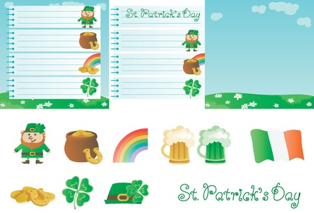 four leafs clover: Set for St  Patrick s Day  Vector  of page from spiral notebook, green spring  landscape, leprechaun, pot with gold coins Illustration