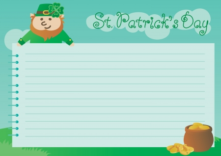 four leafs clover: Background for St  Patrick s Day  Vector  of page from spiral notebook, leprechaun, pot with gold coins on green spring  landscape