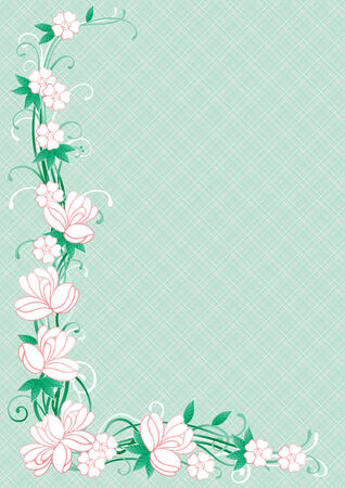floral corner: Floral border  Vector ornate  corner with many  flowers and leaves on abstract green background