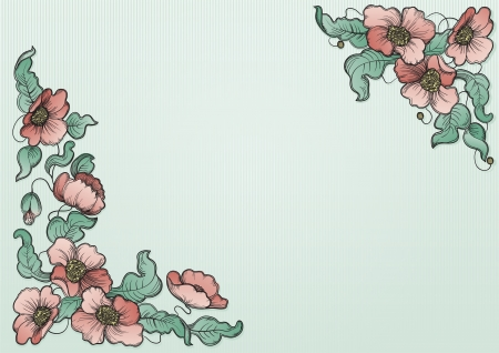 flowerses: Poppy background  Vector  floral background with poppy flowers and leaves  at color engraving style