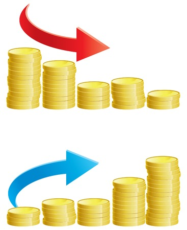 monetary: Two abstract graph with stacks of gold coins Illustration