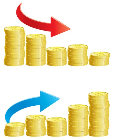 Two abstract graph with stacks of gold coins Vector