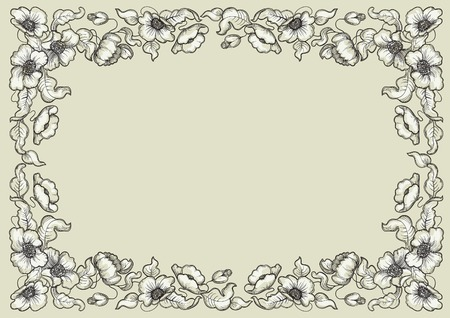floral background with poppy flowers and leaves Vector