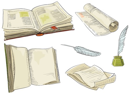 Retro set of old books and antique objects Vector