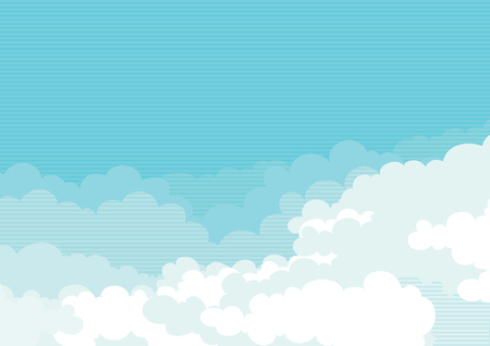 clouds in sky: Cloudscape horizontal background of blue sky with clouds