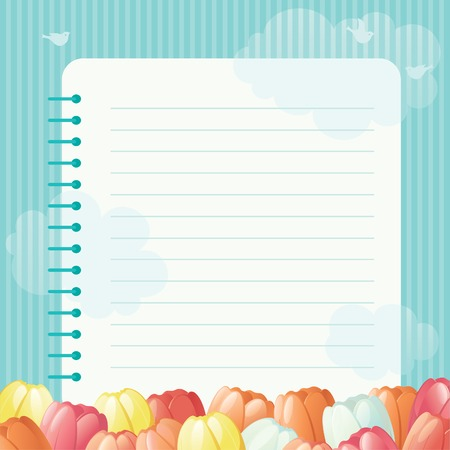 border cartoon: Spring floral background  Many spring flowers and page of   spiral exercise book on abstract