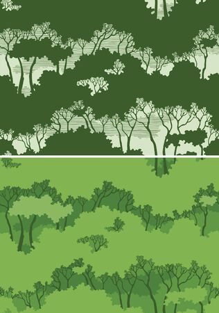 forest clipart: Seamless forest  Two seamless patterns with green trees Illustration