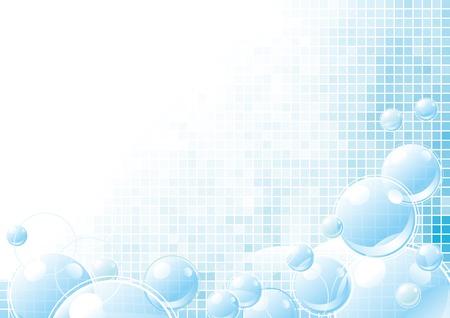 bulles de savon: Mousseux fond abstrait avec beaucoup de bulles bleues