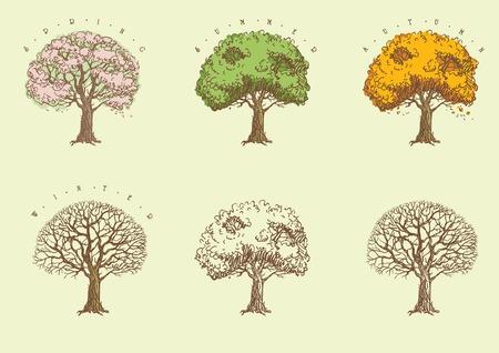 녹색, 오렌지와 잎없이 꽃과 함께 함께 조각 스타일의 나무에서 나무의 집합 일러스트