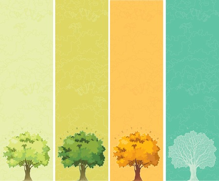Four seasons - spring, summer, autumn, winter  banners of trees