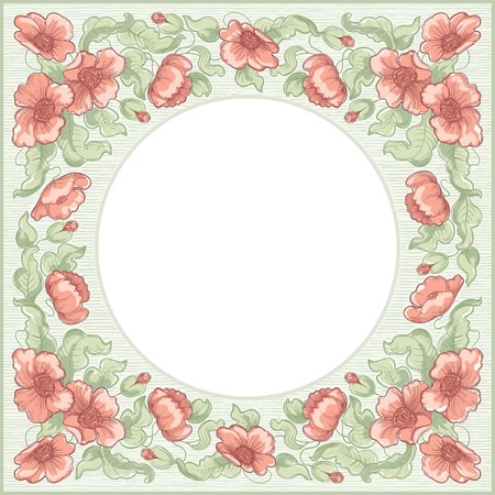 Poppy border floral background with poppy flowers and leaves  at  color engraving style  Vector
