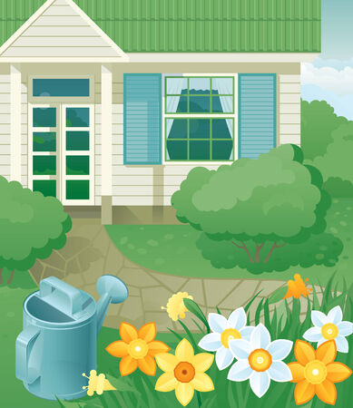 Spring in the garden of gardening - Watering Can,  flowers and house at retro style Vector