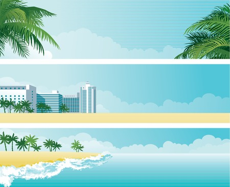 non    urban scene: Tropical banners  Vector background with tropical palms and  hotel buildings on the sea coast Illustration