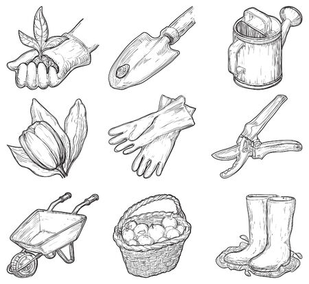 Garden tools and things  Vector set of garden icons at at engraved style Illustration