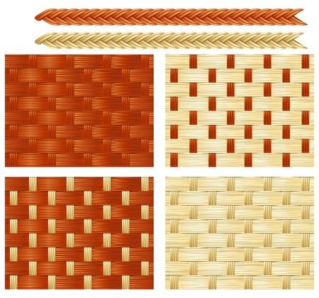mimbre: Patrones de costura de cestería Cuatro fondos de vectores sin fisuras con los patrones de la cestería de mimbres Vectores