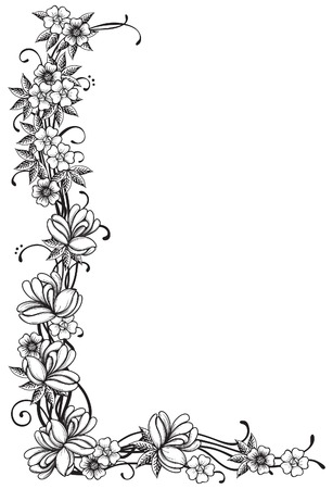 Floral border  Vector ornate  corner with many  flowers and leaves at engraving style