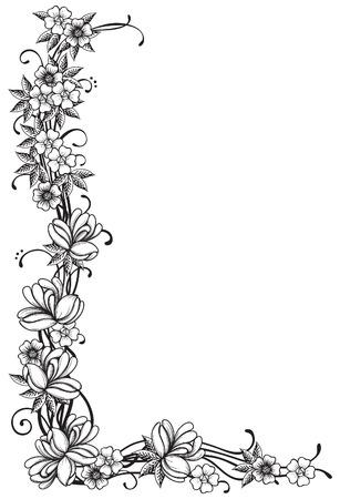 Floral Grenze Vektor verzieren Ecke mit vielen Blumen und Blättern an Gravurstil Standard-Bild - 27447264