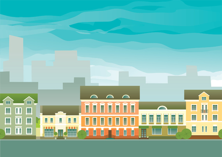 neighbourhood: Real estate background  Vector of houses on town street at different architectural styles
