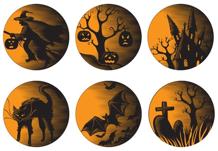 gourd: Halloween set. Six vector halloween pictures at engraving style