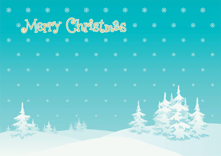 Merry  christmas!   Vector background of winter landscape and Merry  christmas! Vector