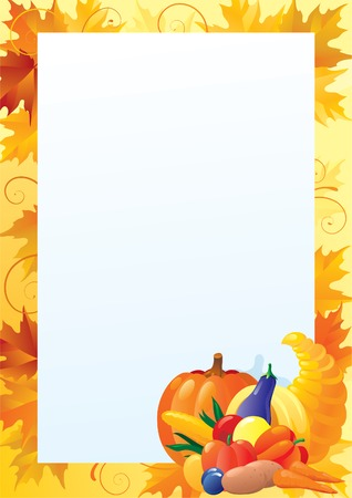 Vertical card for thanksgiving. Empty blank with  Cornucopia and many Vegetables on ornate background with red, yellow and orange maple leaves Vettoriali