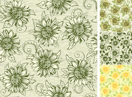 Vintage floral backgrounds. Vector ornate seamless  patterns with Sunflowers at engraving style Vector