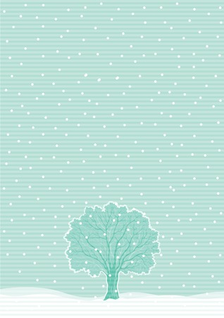 winter tree: Winter tree. Vector  winter landscape with alone tree and snowflakes.