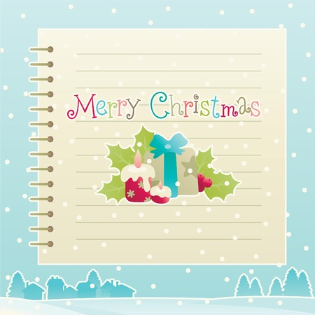 Merry christmas! Vector background of christmas decorations with empty blank and winter snow landscape Vector