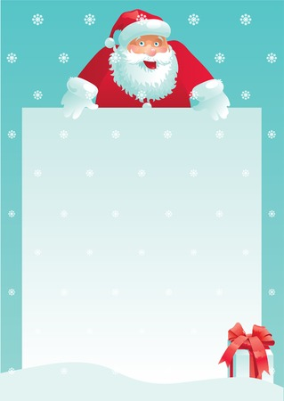 Santa Claus and gift box with christmas letter. Vector illustration of Santa Claus and gift box with empty blank on vertical background with snowflakes. Vector