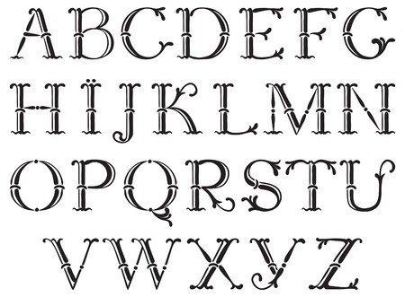 Handwritten vintage alphabet. Vector set of ornate alphabet at retro style Vector