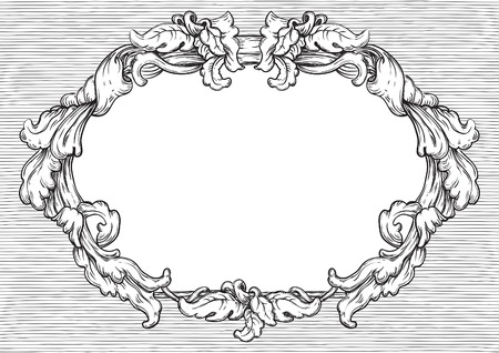 Vintage frame. Vector retro  background with ornate border at engraving style. Vector