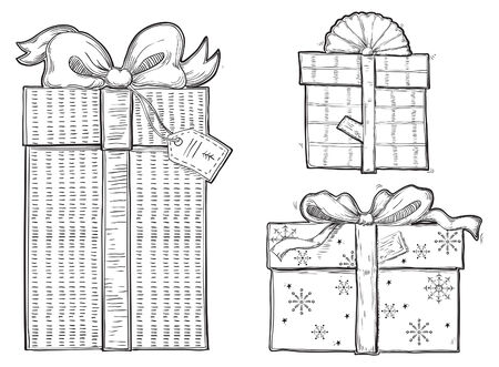 Gift boxes. Vector set of  of gift boxes with bows at retro engraving style. Vector