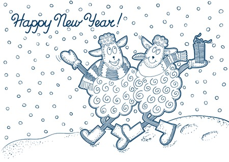 funy: Happy New Year! Vector background of two funy sheeps  at doodle, style