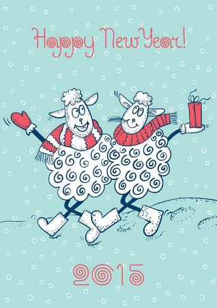 Happy New Year! Vector background of two funy sheeps and inscription 2015. Vector