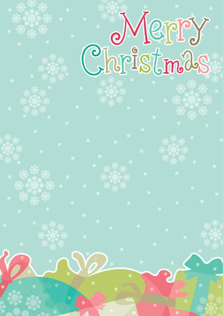 Marry christmas!  Christmas gifts  and inscription Marry christmas on abstract backgrounds with snowflakes at flat style Illustration