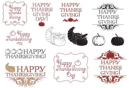 cuerno de la abundancia: Feliz día de acción de gracias! Vector conjunto de inscripciones e imágenes para el día de acción de gracias en el estilo de grabado