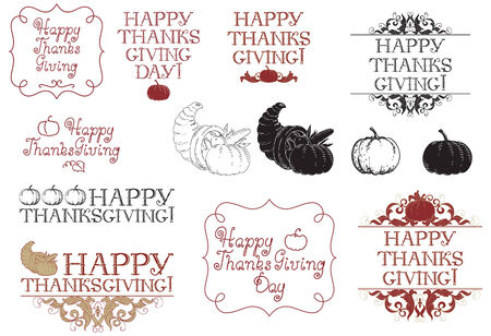 cornucopia: Happy thanksgiving day! Vector set of inscriptions and pictures for thanksgiving day at engraving style