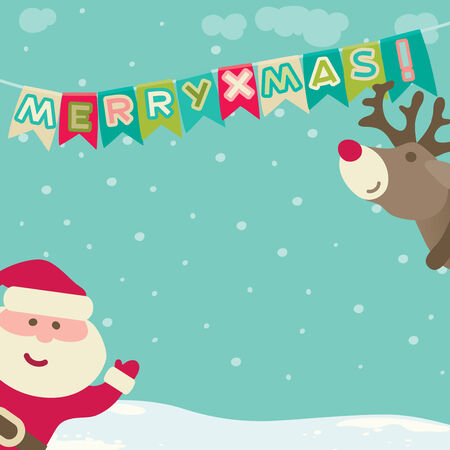 christmas background. Vector background of Santa Claus, christmas decorations and \\\Merry xmas!\\\. Vector