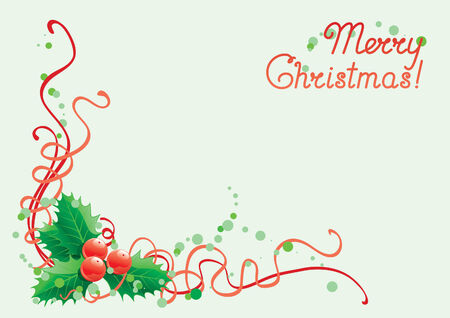 red berries: Christmas holly decoration. Vector abstract christmas background  with    leaves and berries of holly