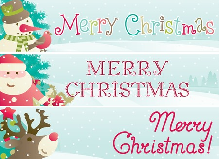 Set of christmas banner. Vector banners with Santa Claus, snowman, Red-Nosed Reindeer, branches of fir tree and christmas decoration  and inscription Merry Christmas! Vector
