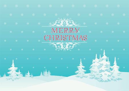 snow field: Merry  christmas!   Vector background of winter landscape and Merry  christmas! at retro style