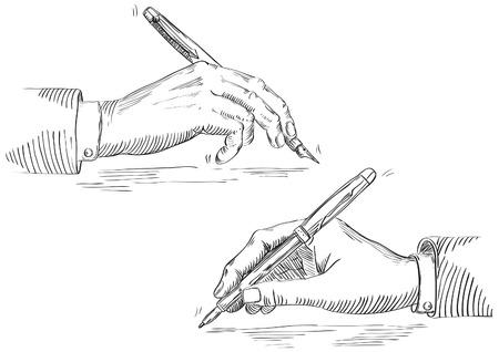 pluma de escribir antigua: Mano de la escritura del hombre de negocios. Vector de mano que sostiene la pluma en estilo retro grabado.