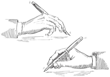 old writing: Writing hand of businessman . Vector of Hand Holding Pen at retro engraving style. Illustration