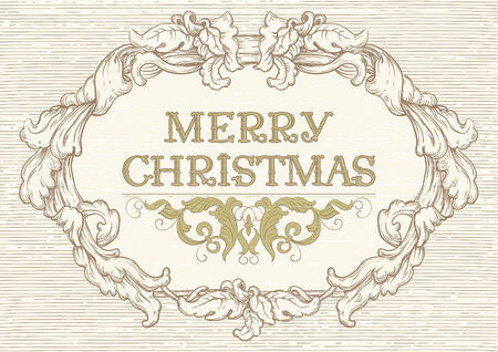 Merry Christmas! Vector retro  background with ornate border at engraving style. Vector
